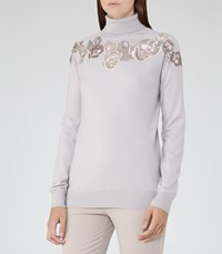 Reiss Alo Womens Embroidered Roll Neck Jumper In Brown