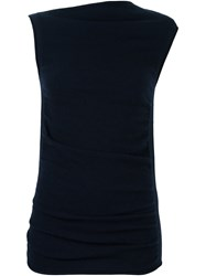 Joseph Sleeveless Asymmetric Knitted Top Blue