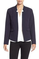 Ellen Tracy Petite Women's Fitted Reverse Lapel Blazer Navy