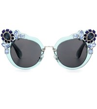 Miu Miu Embellished Cat Eye Sunglasses Green