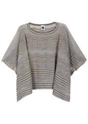 M Missoni Grey Cropped Metallic Knit Poncho Silver