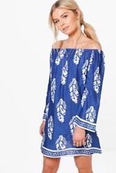Boohoo Off The Shoulder Feather Print Dress Blue