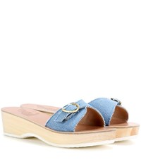 Ancient Greek Sandals Filia Sabot Denim Platform Slip On Sandals Blue