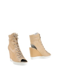 Hogan Rebel Ankle Boots Beige