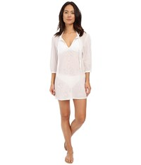 Echo Ocean Eyelet Tunic White Women's Short Sleeve Pullover