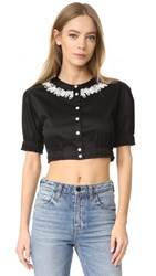 Opening Ceremony Embroidered Cropped Button Down Shirt Black