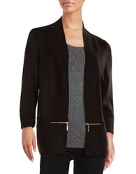 Ivanka Trump Zip Trim Cotton Blend Cardigan Black