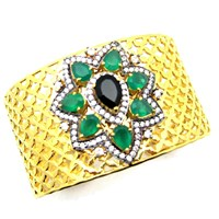 Meghna Jewels Ahalei Cuff Green Onyx And Cubic Ziconia Black Green Gold