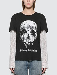 Maison Martin Margiela Mm6 Lace Sleeve Skull Print T Shirt Black