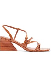 Mercedes Castillo Kelise Croc Effect Leather Sandals Tan