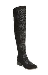 Women's Free People 'High Noon' Over The Knee Boot Black Leather Combo