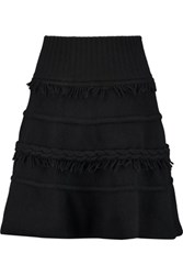 Agnona Fringe Trimmed Wool And Cashmere Blend Mini Skirt Black