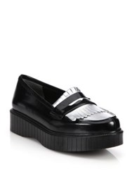 Robert Clergerie Fringed Leather Platform Loafers