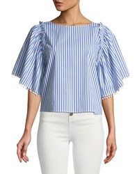 Ella Moss Boxy Striped Frill Top White