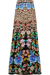 Temperley London Baudelaire Embroidered Silk Organza Maxi Skirt Multi