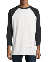 Alexander Wang Long Sleeve Baseball Tee With Raw Edge Trim Matrix
