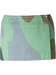 Stephen Sprouse Vintage Andy Warhol Camouflage Print Skirt Green