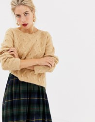 Stradivarius Cropped Cable Knit Jumper Beige