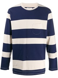 Universal Works Striped Long Sleeve T Shirt Blue