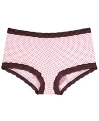 Maidenform Microfiber Boyshort 40760 Pink With Chocolate Pin Dot