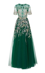 Georges Hobeika Sequin Embroidered Short Sleeve Gown Green