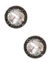 Milor Jewelry Pave Bezel Set Green Amethyst And Black Spinel Faceted Stone Earrings Metallic