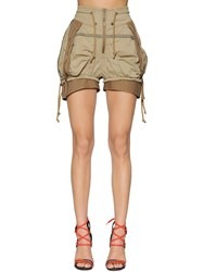 Dsquared Stretch Cotton Twill Military Shorts Beige