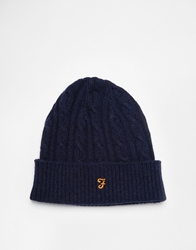 Farah Vintage Kirtly Cable Knit Beanie Hat Navy