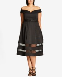 City Chic Trendy Plus Size Off The Shoulder A Line Dress Black