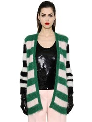 Max Mara Striped Mohair And Wool Knit Cardigan