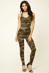 Forever 21 Hooded Camo Print Jumpsuit Olive Brown