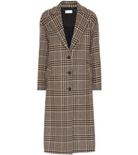 Red Valentino Houndstooth Wool Blend Coat Brown