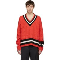 Maison Martin Margiela Orange Collegiate Decortique V Neck Sweater