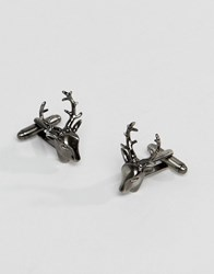 Simon Carter Stag Cufflinks In Antique Silver