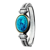 Adele Marie Oval Turquoise Hinged Bangle Silver Blue