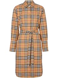 Burberry Vintage Check Cotton Tie Waist Shirt Dress Neutrals
