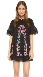 Free People Perfectly Victorian Embroidered Mini Dress Black