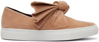 Cedric Charlier Pink Corduroy Bow Slip On Sneakers