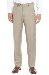 Berle Men's Flat Front Solid Wool Trousers Tan
