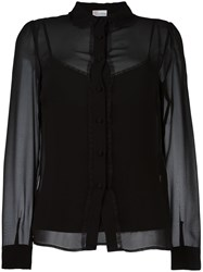 Red Valentino Lace Trim Shirt Black
