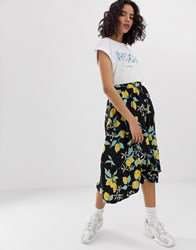 Moss Copenhagen Asymmetric Ruffle Midi Skirt In Lemon Print Black