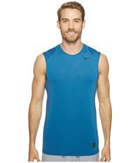 Nike Pro Cool Fitted S L Industrial Blue Ghost Green Black Men's Clothing