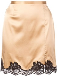 Fleur Du Mal James Lace Detail Mini Skirt Gold