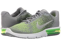 Nike Air Max Sequent 2 Stealth Metallic Silver Electric Green Men's Running Shoes Gray