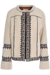 Talitha Embroidered Shearling Jacket Ivory