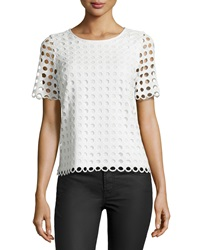 Catherine Catherine Malandrino Holland Eyelet Short Sleeve Blouse White