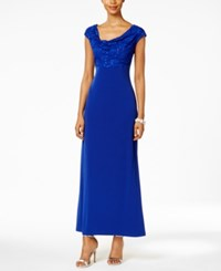 Connected Sequined Lace Cowl Neck Gown Cobalt Blue