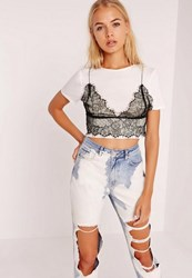Missguided Petite White Sheer Lace Bralet Overlay Crop Top Black