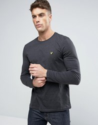Lyle And Scott Long Sleeve Top Regular Fit Eagle Logo In Charcoal Marl Charcoal Marl Grey