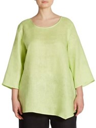 Caroline Rose Asymmetrical Linen Tunic Lime